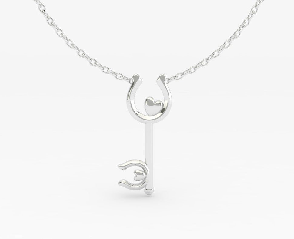 Skeleton Key Horseshoe Heart  - PRICES LISTED ARE FOR SILVER - PLEASE REQUEST A QUOTE FOR GOLD CHOICE