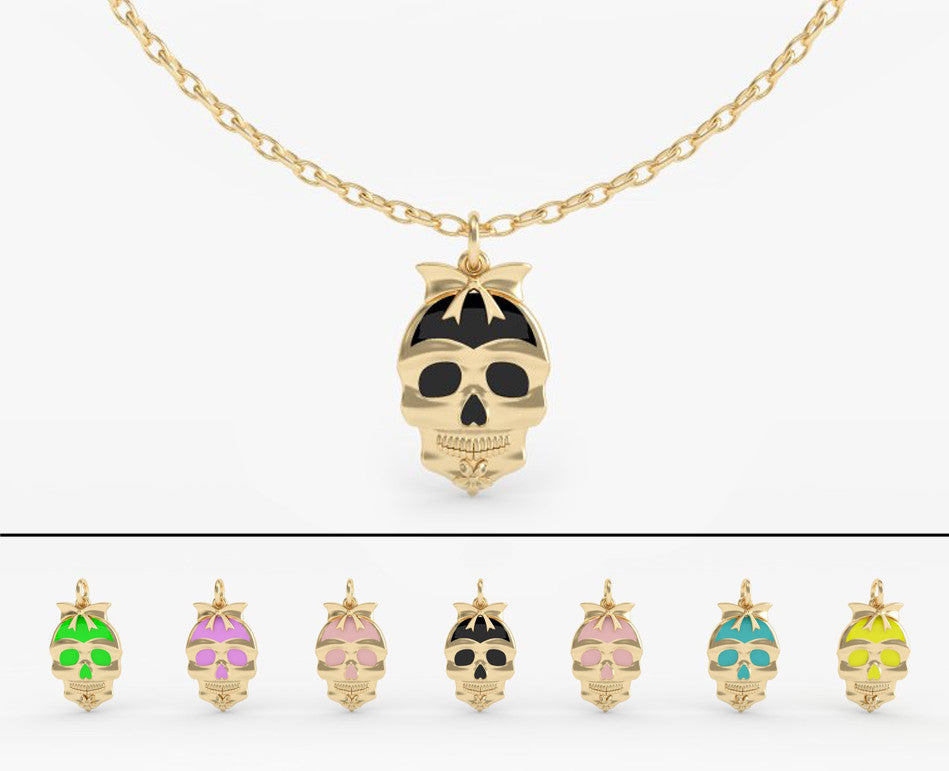 Sugar Skull Epoxy Plain Pendant - PRICES FOR YELLOW GOLD - PLEASE REQUEST QUOTE FOR OTHER METAL FINISHES