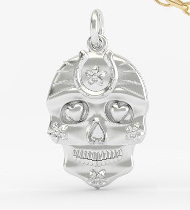 Sugar Skull Horseshoe Heart Eyes Pendant - PRICES LISTED ARE FOR SILVER - PLEASE REQUEST A QUOTE FOR GOLD CHOICE