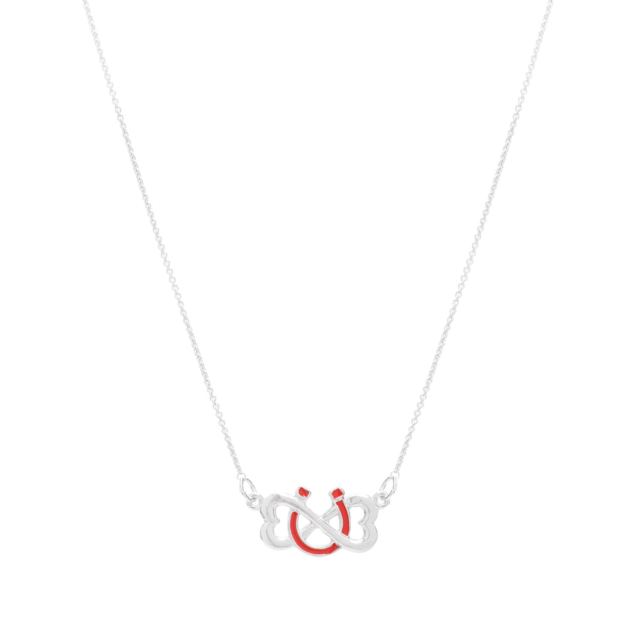 Sterling Silver Enamel Infinite Luv Necklace