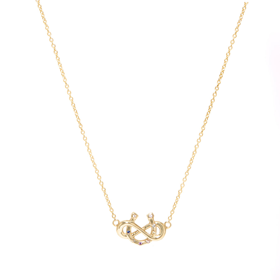 Yellow Gold Gemstones Infinite Luck Necklace