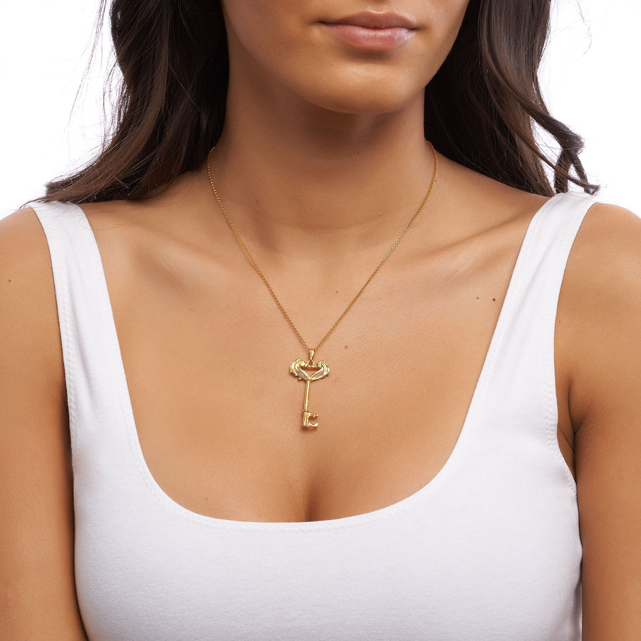 Gold Head Skeleton Key Necklace