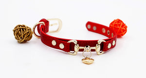 Hand Made Genuine Leather Pet Collar Burgundy - happyandpolly