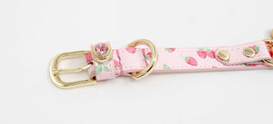 Hand Made Genuine Leather Pet Collar Pink Strawberry - happyandpolly