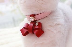 Hand Made Genuine Leather Pet Collar Pink - happyandpolly