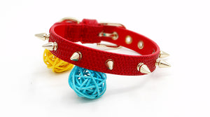 Hand Made Genuine Leather Pet Collar Red - happyandpolly