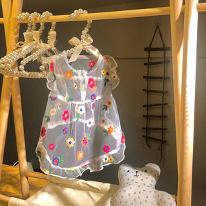Hand Made Flower Embroidery Dog Cat Dress