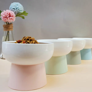 Candy Color Ceramics High Foot Pet Bowl