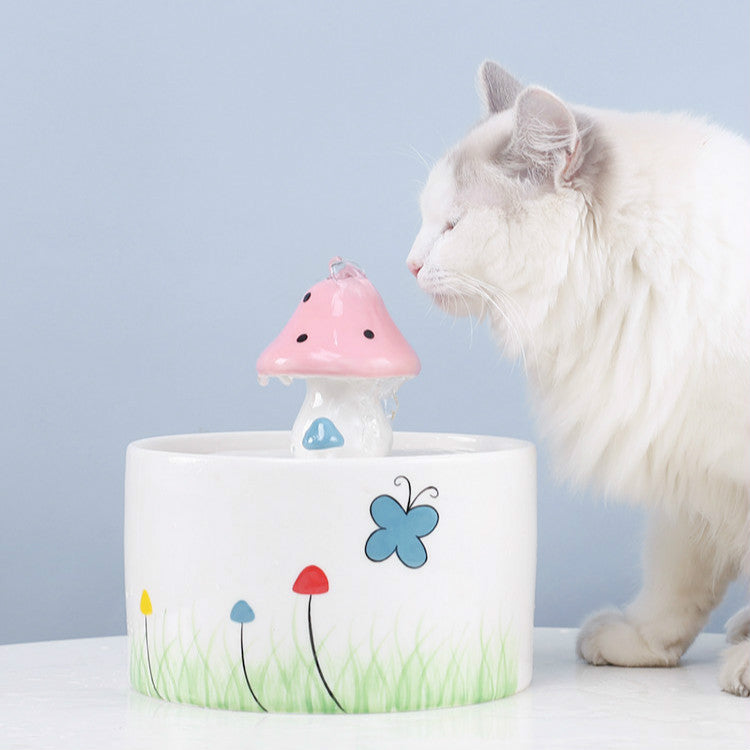 Mushroom Shaped Cat Drinking Fountain