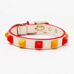 Hand Made Genuine Leather Pet Collar Candy