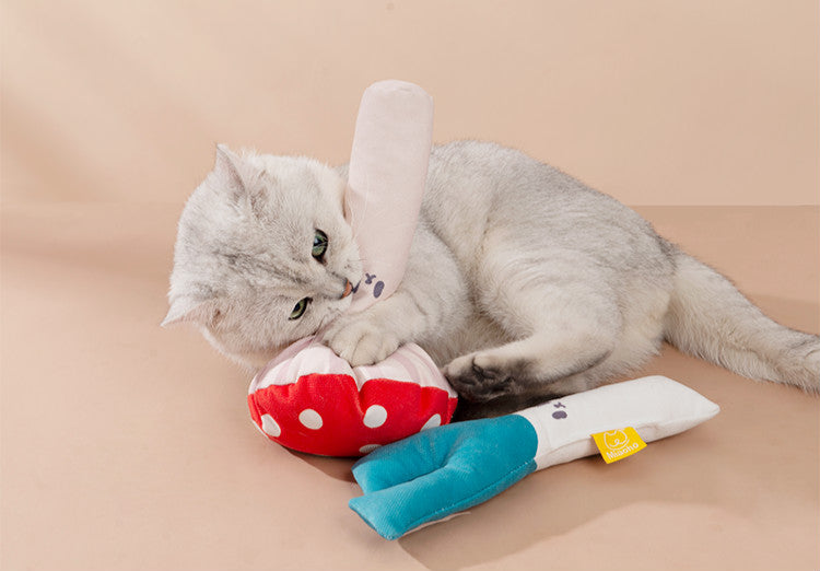 Mushroom Shaped Catnip Toy Pillow