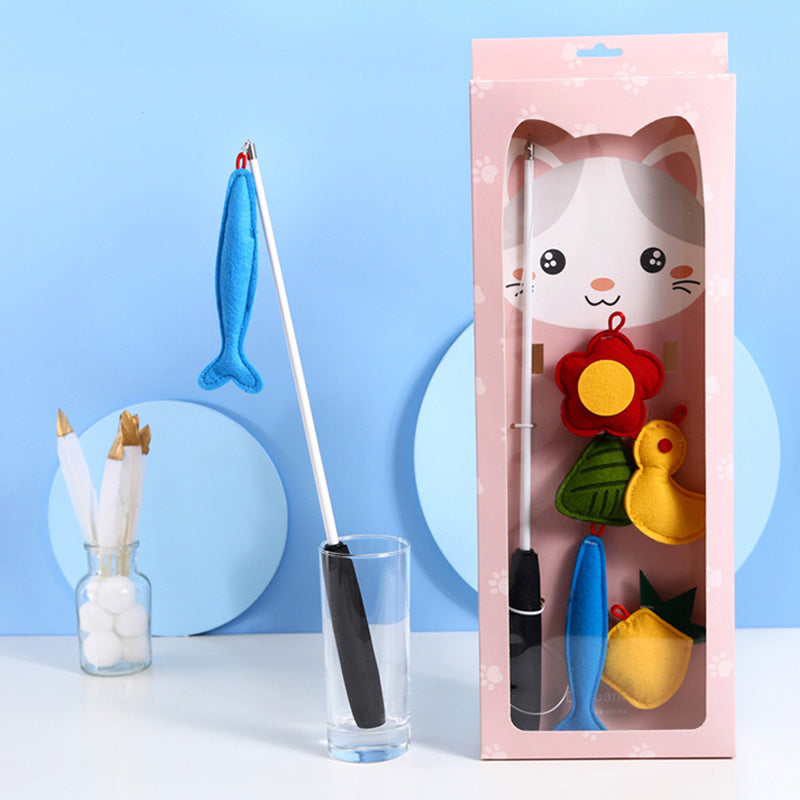 Retractable Plush Cat Teaser Wands Set