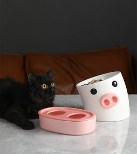 Pig Nose Shaped Oblique Pet Bowl