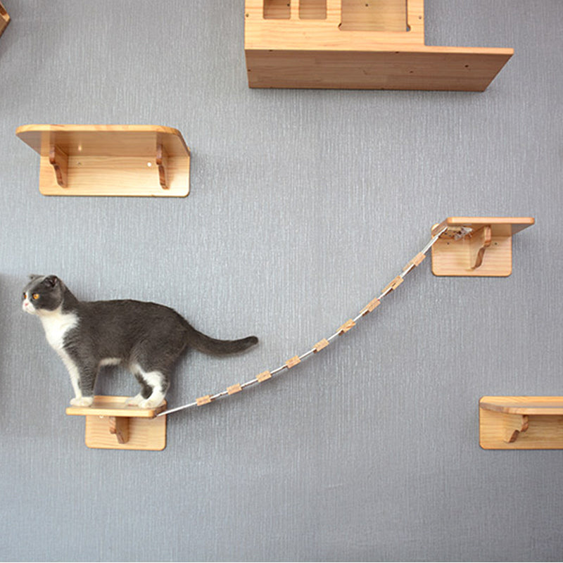 Cat Climbing Frame Tree House Wood - happyandpolly