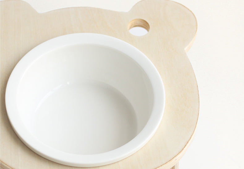 Wooden Cat Bowl Set
