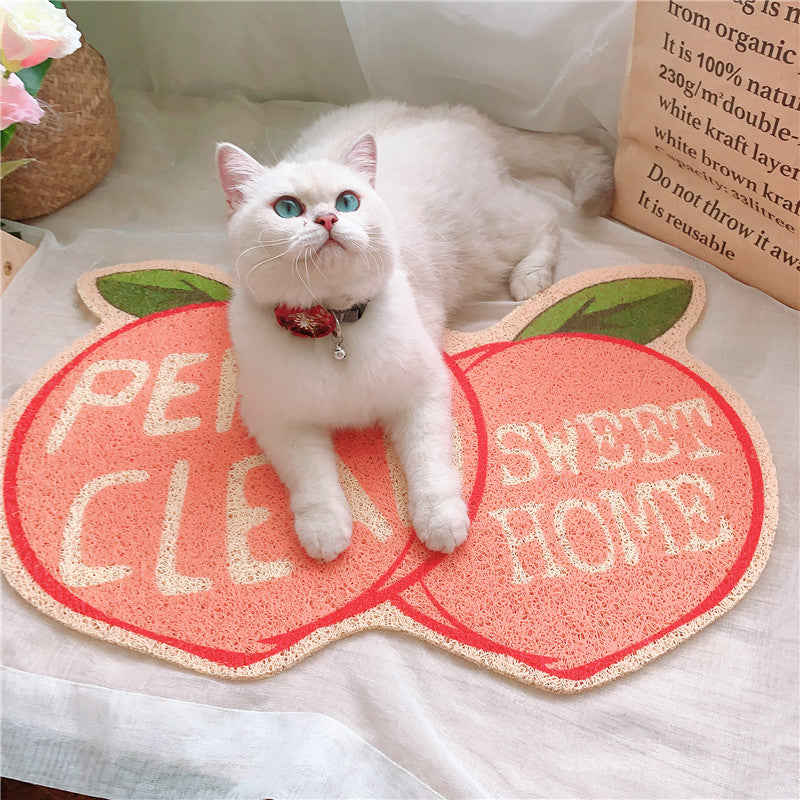 Peach shaped Cat Litter Mat