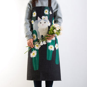 Watercolor style Cat illustration Apron - happyandpolly