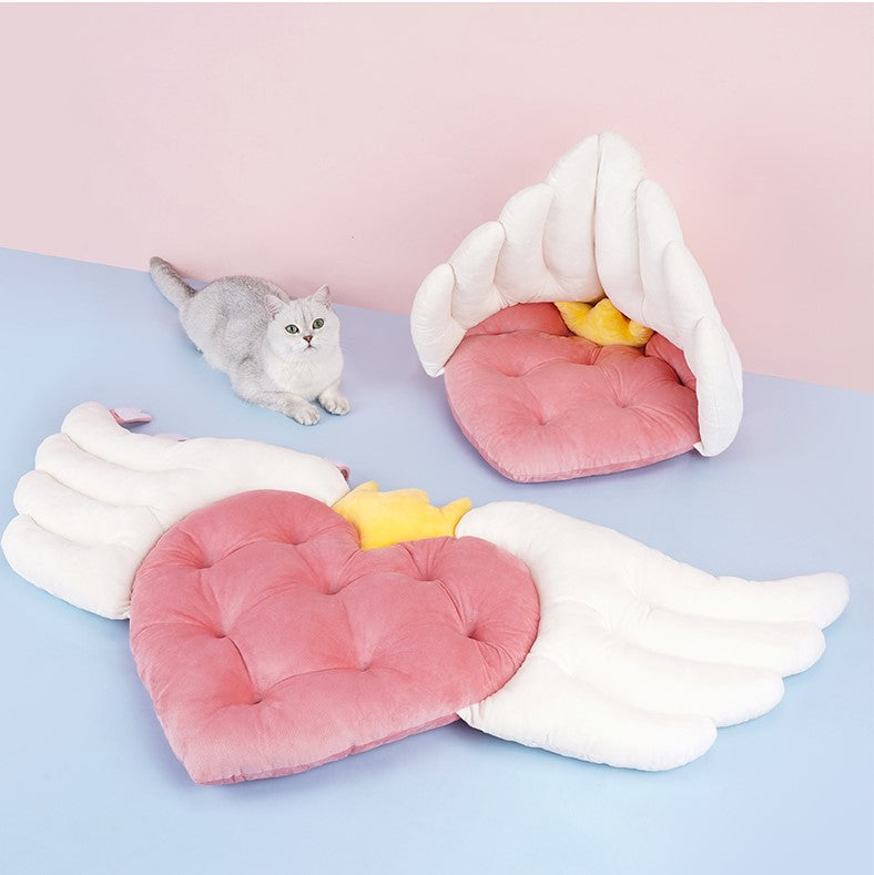 Cupid's Heart Fancy Angel Wings Shaped Cat Bed