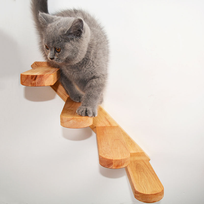 Cat Climbing Ladder Wood Stairs Jumping Platform - happyandpolly