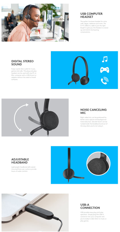 Logitech H340 Wired Headset, Stereo Headphones with Noise-Cancelling Microphone, USB, PC/Mac/Laptop - Black