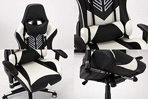 Gaming Chair (Seoul-White) - Racing Style Gaming Chair with Head Pillow and Lumbar Cushion