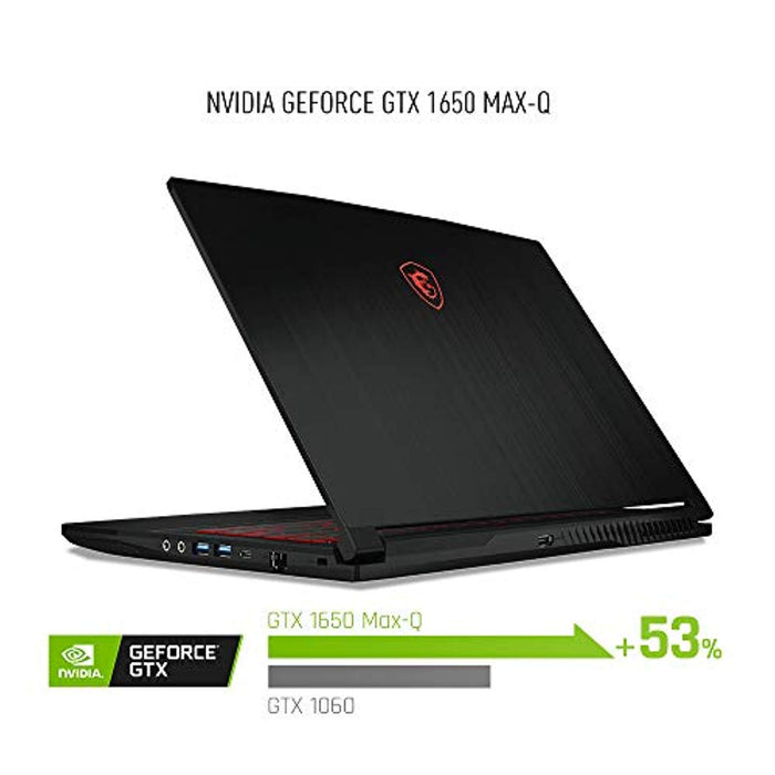 "MSI GF63 Thin 9SC-066 15.6"" Gaming Laptop, Thin Bezel, Intel Core i7-9750H, NVIDIA GeForce GTX1650, 16GB, 512GB NVMe SSD"