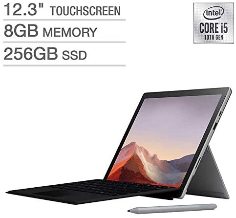 "Microsoft Surface Pro 7 Bundle - Intel Core i5-1035G4, 8GB RAM, 256GB SSD, With Black Type Cover & Surface Pen 12.3""  - Platinum"
