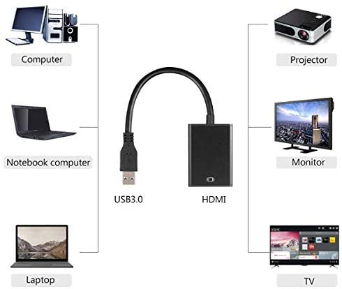 USB 3.0 to HDMI Video Adapter Full HD 1080P Converter for Computer Laptop (Black)