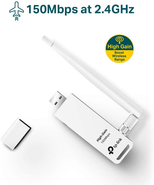 TP-Link 150Mbps High Gain Wireless USB Adapter for PC and Laptops (TL-WN722N)