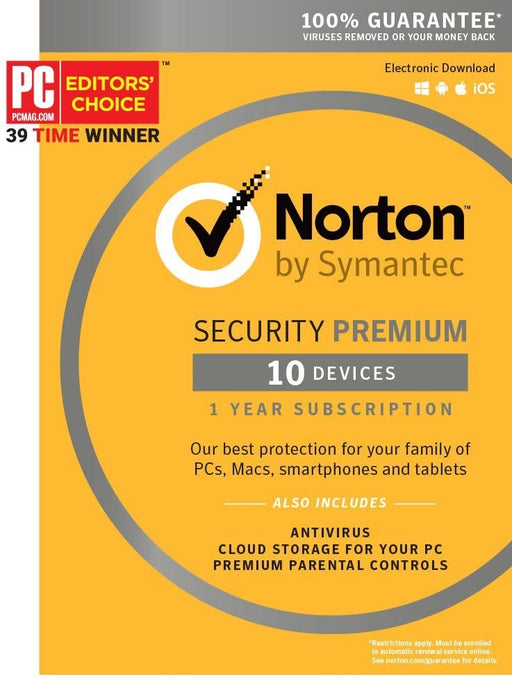 Symantec Norton Security Premium – 10 Devices – 1 Year Subscription [PC/Mac/Mobile Key Card]