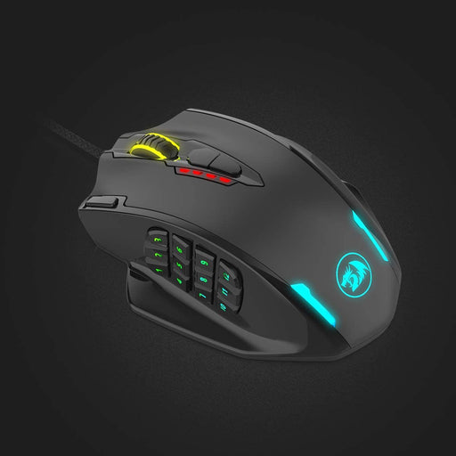 Redragon Redragon Impact RGB LED MMO Mouse with Side Buttons Laser Wired Gaming Mouse with 12,400DPI, High Precision, 18 Programmable Mouse Buttons