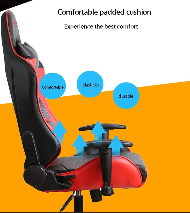 Gaming Chair - Designed With PU Leather, High Density Foam & Metal Frame Inside, 2 Pillows, Butterfly Mechanism, 50mm Diameter - Black & Red