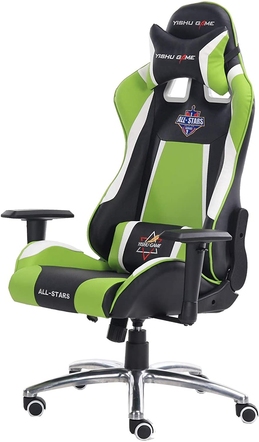 Gaming Chair - Designed With PU Leather, High Density Foam & Metal Frame Inside, 2 Pillows, Butterfly Mechanism, 50mm Diameter - Black, White & Green
