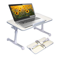 Foldable Laptop Stand With USB Cooling Fan - Both Height & Angle Are Adjustable - Very Portable for Bed, Couch & Floor