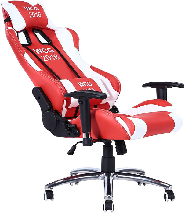 Gaming Chair - Designed With PU Leather, High Density Foam & Metal Frame Inside, 2 Pillows, Butterfly Mechanism, 50mm Diameter - Black, White & Red