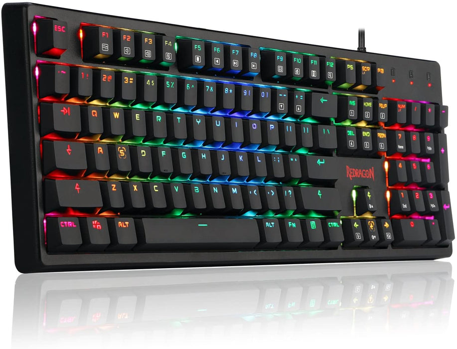 REDRAGON K578 Mechanical Gaming Keyboard Wired USB RGB LED Backlit Mechanical Gamers Keyboard 104 Keys for Computer PC Laptop Quiet Cherry Brown Switches Equivalent