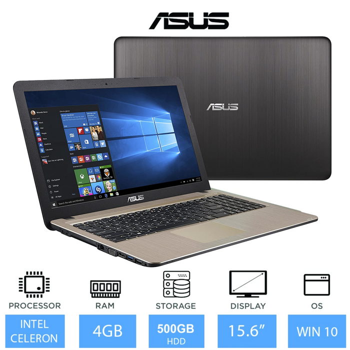 "Asus X540 15.6"" Laptop (Intel Celeron N3350 Processor, 4GB Memory, 500GB Hard Drive, Chocolate Black)"
