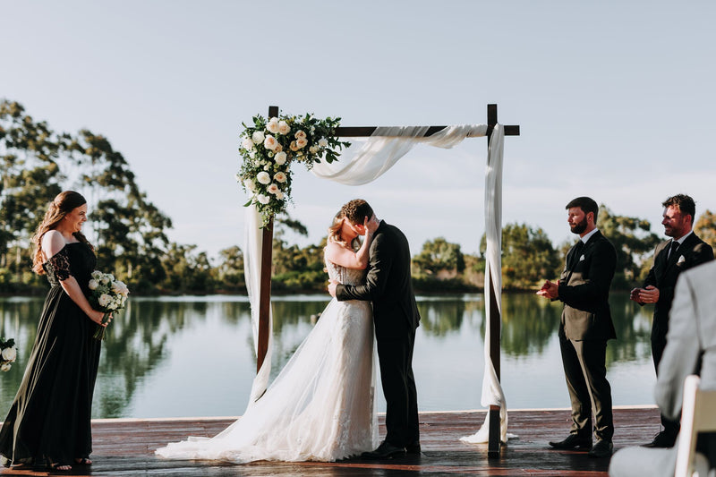 Black Brewing Co Wedding Ceremony by the lake