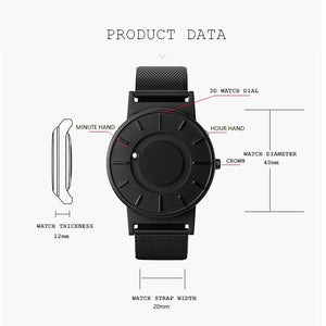 Vixale Unisex Watch, Titanium With Mesh Strap (Black)