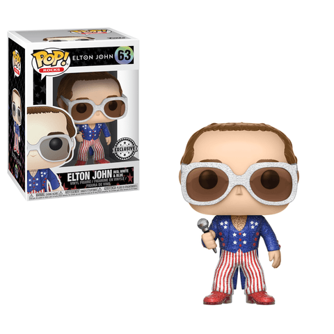 Funko Pop! Rocks - Elton John #63 - Elton John (Red, White and Blue) (Glitter) (Exclusive) - Simply Toys
