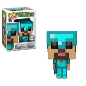 Funko Pop! Games - Minecraft #322 - Steve (with Diamond Armor) (Exclusive) - Simply Toys