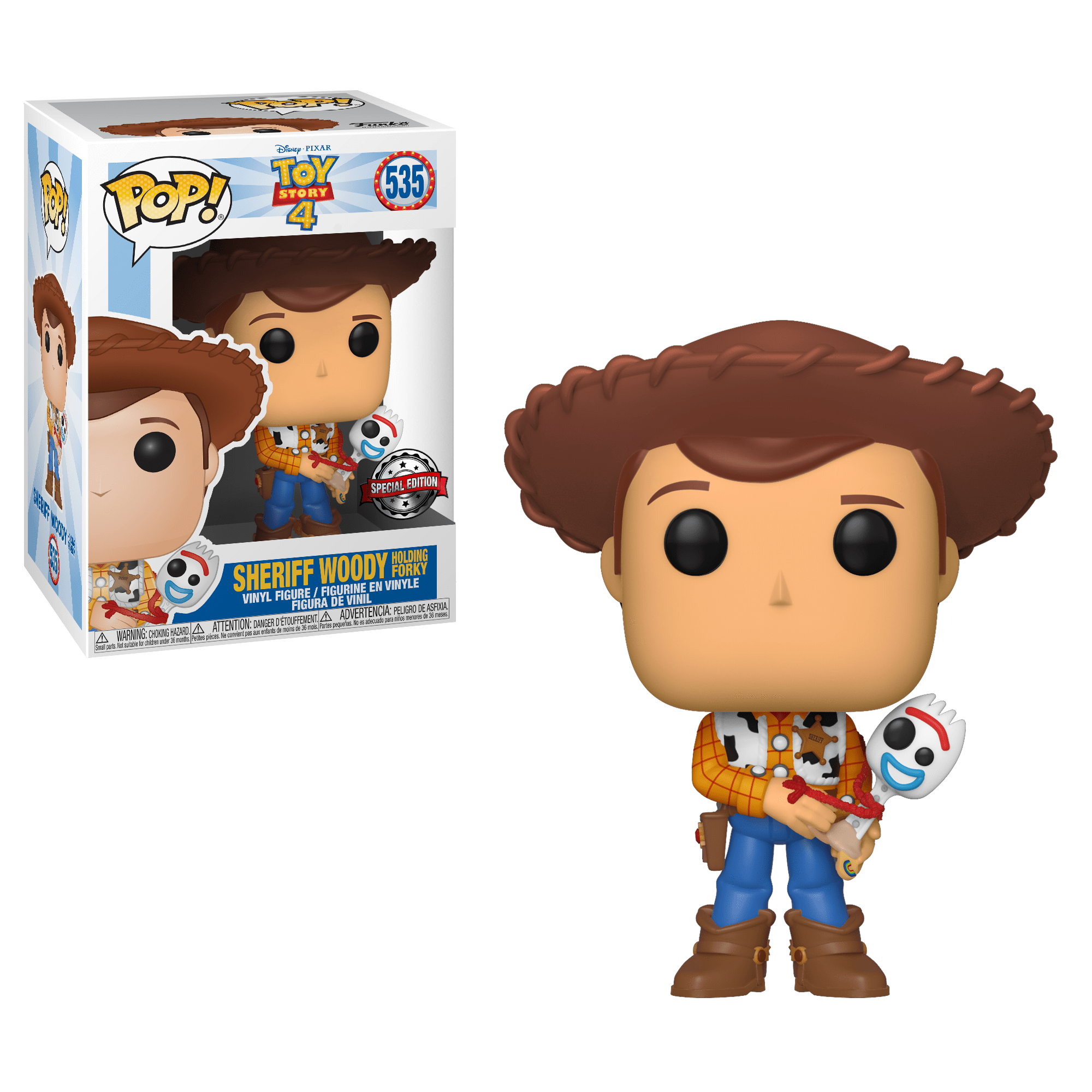 Funko Pop! Movies - Toy Story 4 #535 - Sheriff Woody (Holding Forky) (Exclusive) - Simply Toys
