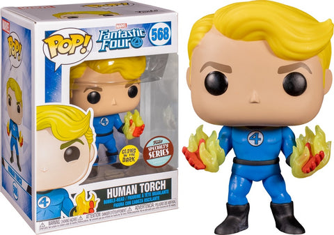 Funko Pop! MARVEL - Fantastic Four #568 - Human Torch (Glow in the Dark) (Exclusive) - Simply Toys