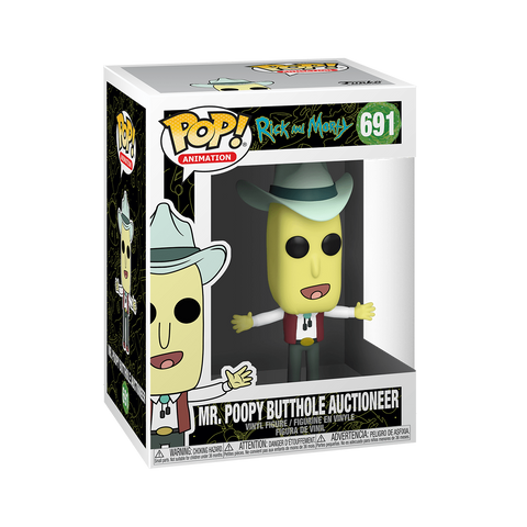 Funko Pop! Animation - Rick and Morty #691 – Mr. Poopy Butthole (Auctioneer) - Simply Toys