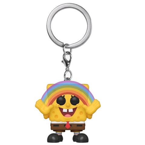 Funko Pop! Keychain - SpongeBob SquarePants - SpongeBob with Rainbow (Exclusive) - Simply Toys