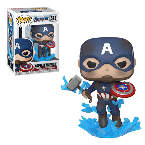 Funko Pop! MARVEL - Avengers: Endgame #573 - Captain America (with Electrified Mjolnir and Broken Shield) - Simply Toys