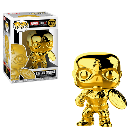 Funko Pop! MARVEL - MARVEL Studios: The First Ten Years #377 - Captain America (Gold Chrome) - Simply Toys