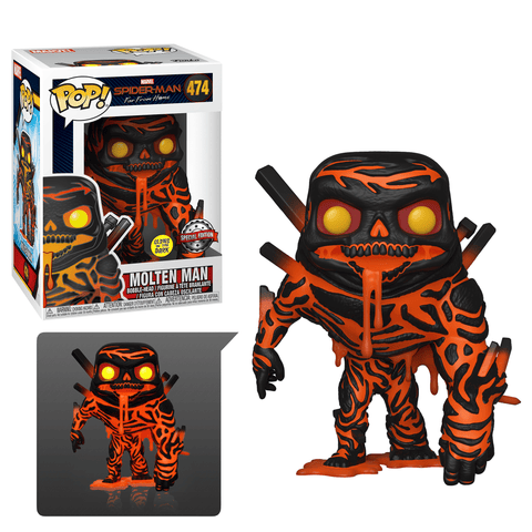 Funko Pop! MARVEL - Spider-Man: Far From Home #474 - Molten Man (Glow in the Dark) (Exclusive) - Simply Toys