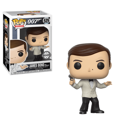 Funko Pop! Movies - James Bond #525 - James Bond (Sir Roger George Moore) (White Tux) (Exclusive) - Simply Toys
