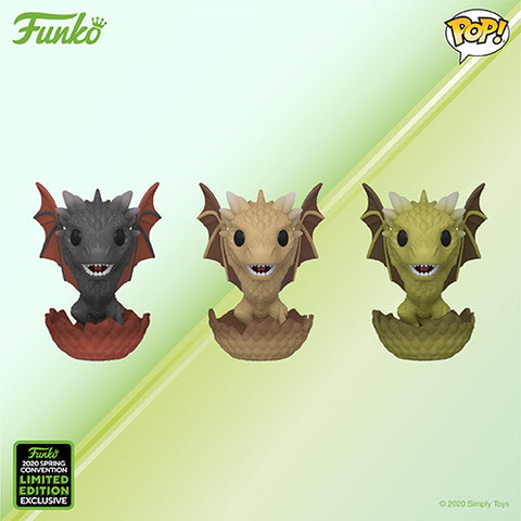 Funko Pop! Television - Game of Thrones - Drogon, Viserion, & Rhaegal (3 Pack) (ECCC 2020 Convention Exclusive) - Simply Toys